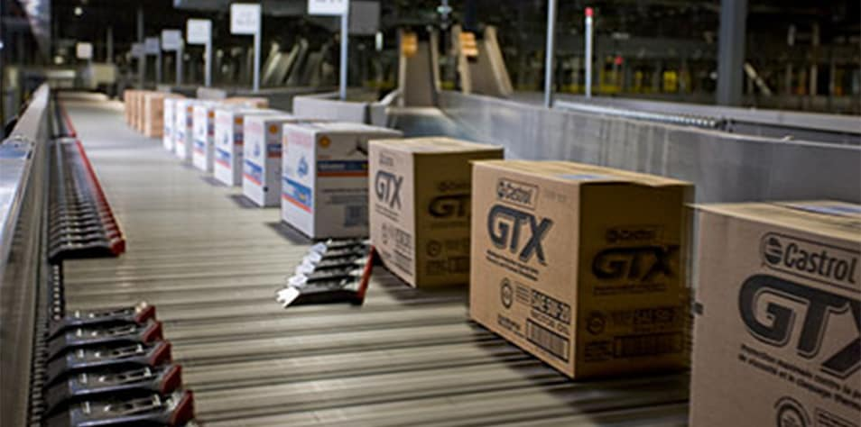 Castrol GTX boxes on a conveyor