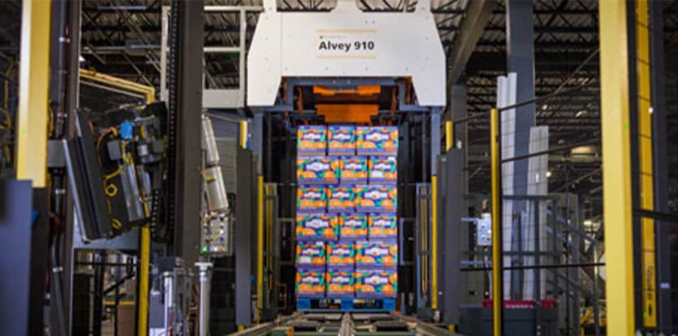 Alvey 910 palletizer with Bee Sweet product