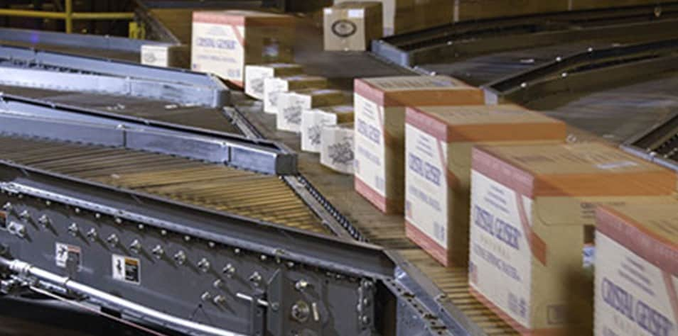 Boxes on sortation conveyor
